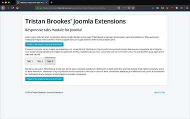 The front-end of the responsive tabs module on a standard Joomla install on iPhone and desktop